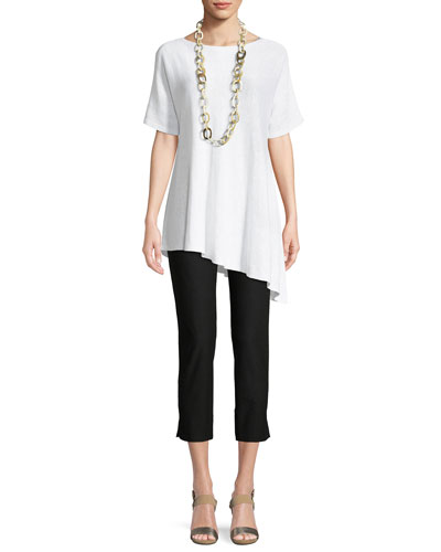 Short-Sleeve Asymmetric Linen Top  and Matching Items
