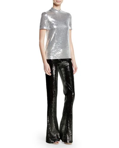 Mock-Neck Stretch Sequin Galaxy Top and Matching Items