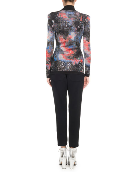 Mock-Neck Long-Sleeve Constellation-Jacquard Top