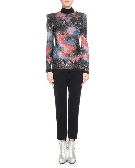 Mock-Neck Long-Sleeve Constellation-Jacquard Top