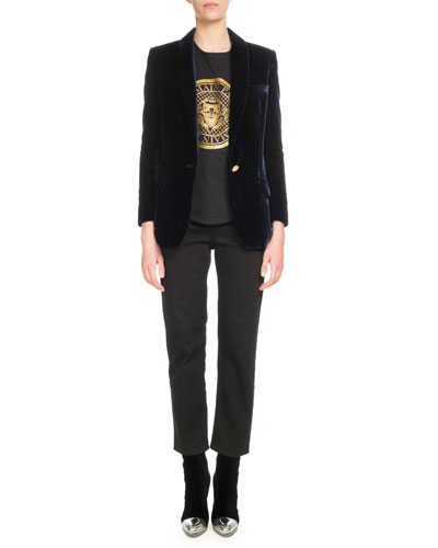 One-Button Long-Sleeve Velvet Jacket and Matching Items