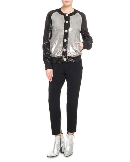 Button-Front Bicolor Paillette Sequin Baseball Jacket