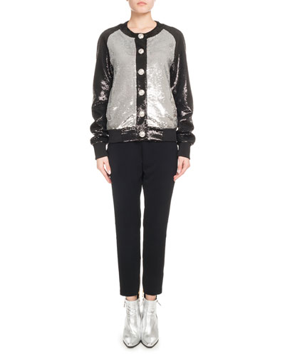 Button-Front Bicolor Paillette Sequin Baseball Jacket and Matching Items