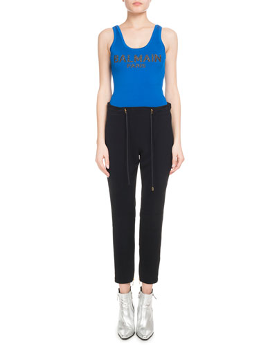 Drawstring-Waist Jersey Track Pant w/ Zip-Hem and Matching Items