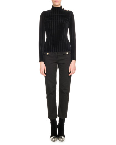 Long-Sleeve Ribbed Velour Turtleneck Top and Matching Items