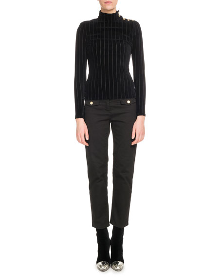 Long-Sleeve Ribbed Velour Turtleneck Top