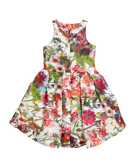 Floral Sleeveless Dress w/ Rosettes, Size 8-12