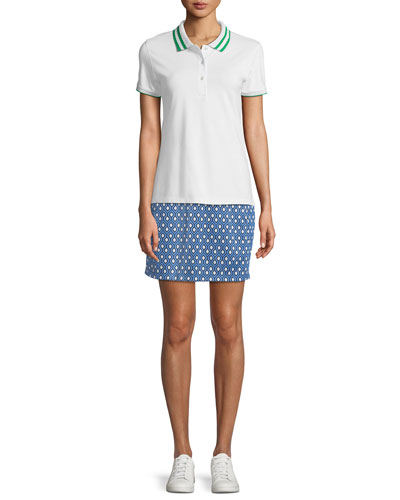 Pleated-Collar Short-Sleeve Polo Top and Matching Items