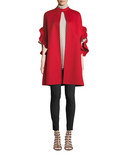 Ruffle-Sleeve Open-Front Wool-Cashmere Coat and Matching Items