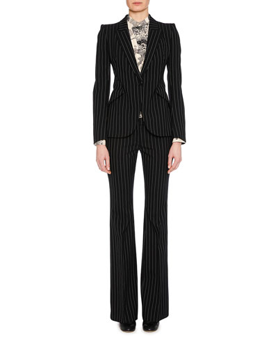 Peak-Lapel Single-Breasted Pinstripe Classic Blazer and Matching Items