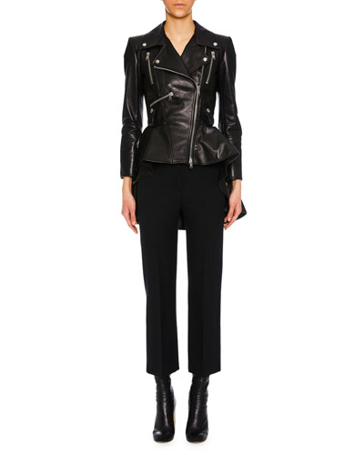 Zip-Front Peplum Leather Moto Jacket and Matching Items