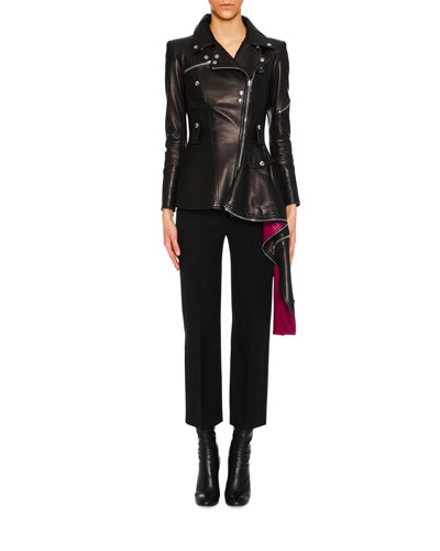 Zip-Front Leather Biker Jacket w/ Contrast Asymmetric Hem and Matching Items
