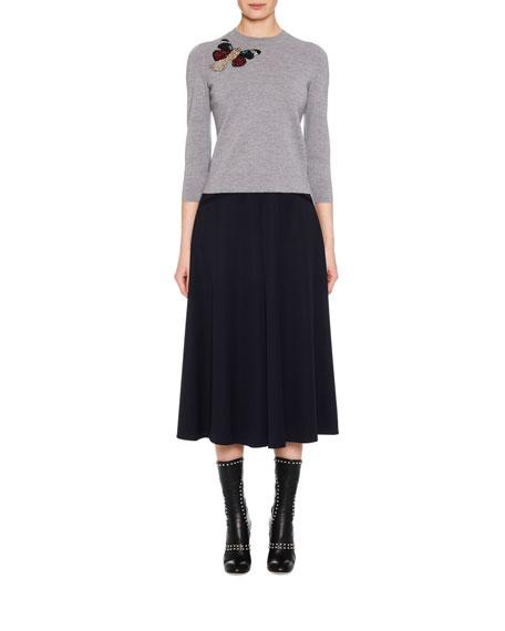 Crewneck 3/4-Sleeve Milano Wool Knit Sweater w/ Moth Embellishment