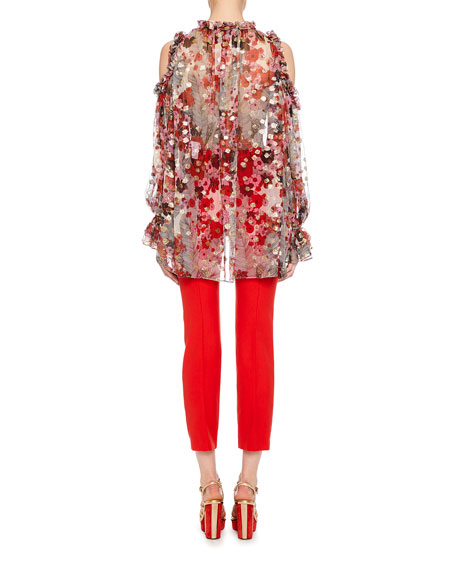 Tie-Neck Cold-Shoulder Feather-Flower Fil Coupe Tunic w/ Ruffled Trim