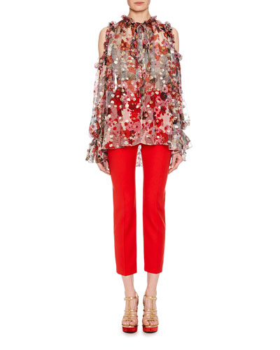 Tie-Neck Cold-Shoulder Feather-Flower Fil Coupe Tunic w/ Ruffled Trim and Matching Items