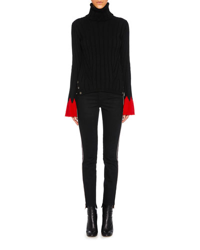 Turtleneck Long-Sleeve Contrast-Cuff Wool Knit Sweater and Matching Items