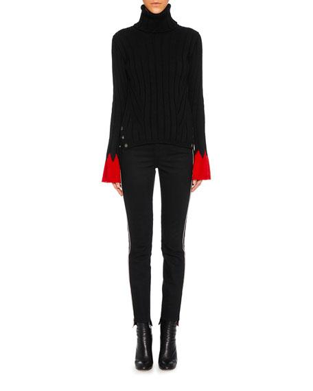 Turtleneck Long-Sleeve Contrast-Cuff Wool Knit Sweater