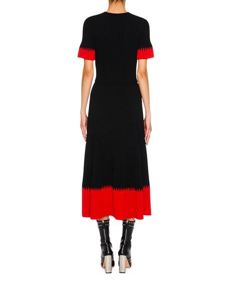 Jewel-Neck Short-Sleeve Ribbed Midi Dress w/ Contrast Tips