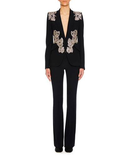 Orchid-Embellished One-Button Crepe Blazer and Matching Items