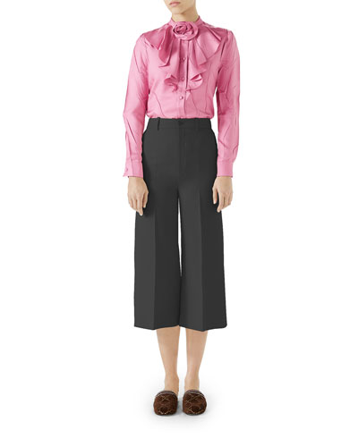 Silk Twill Button-Front Ruffle Shirt with Rose Detail and Matching Items