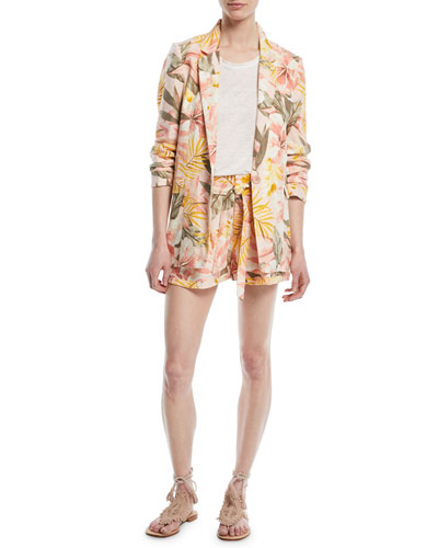 Jaklynn Leaf-Print Pleated Linen Shorts and Matching Items