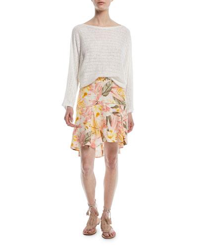 Radhiya Printed High-Low Linen Skirt and Matching Items