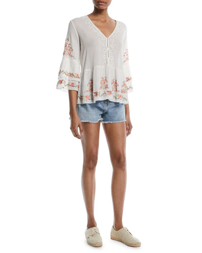Kamile 3/4-Sleeve Embroidered Blouse and Matching Items