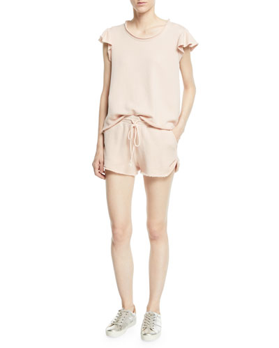 Delfina Raw-Edge Flutter-Sleeve Top and Matching Items