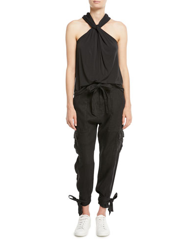Erlette Cropped Linen Cargo Pants and Matching Items