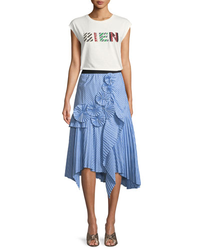Edericka Striped Pleated Applique Midi Skirt and Matching Items
