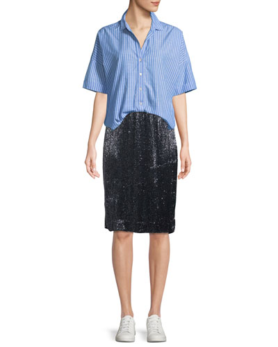 Selsie Short-Sleeve Button-Down Top and Matching Items