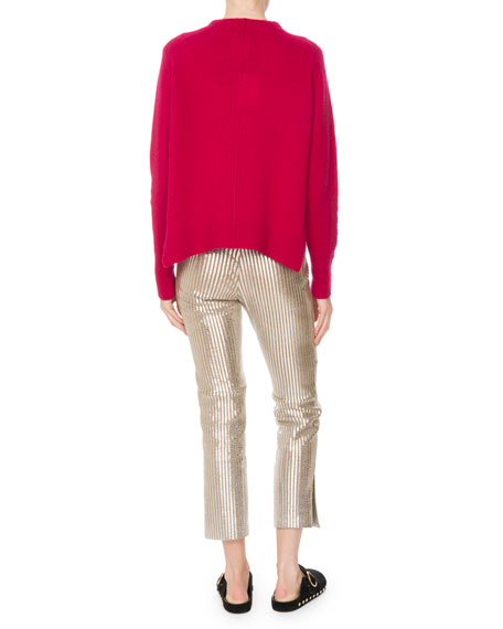 Crewneck Long-Sleeve Pure Cashmere Sweater w/ Side Slits