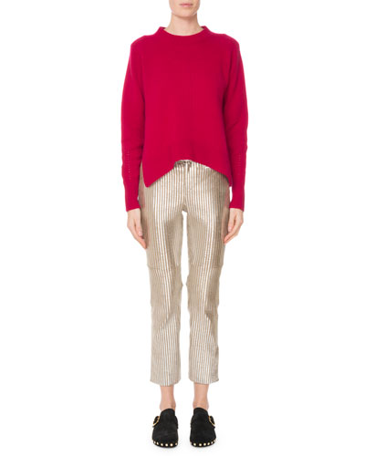 Crewneck Long-Sleeve Pure Cashmere Sweater w/ Side Slits and Matching Items