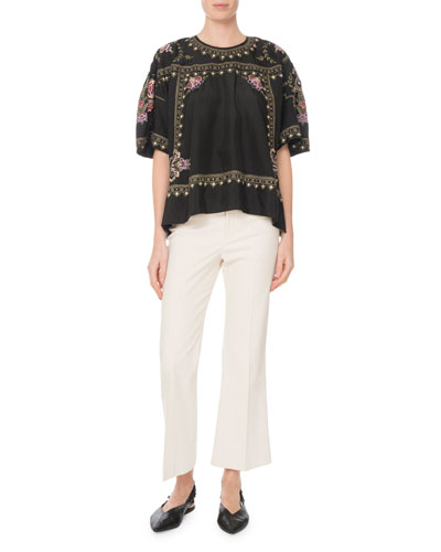 Dante Short-Sleeve Embroidered Silk Tunic and Matching Items