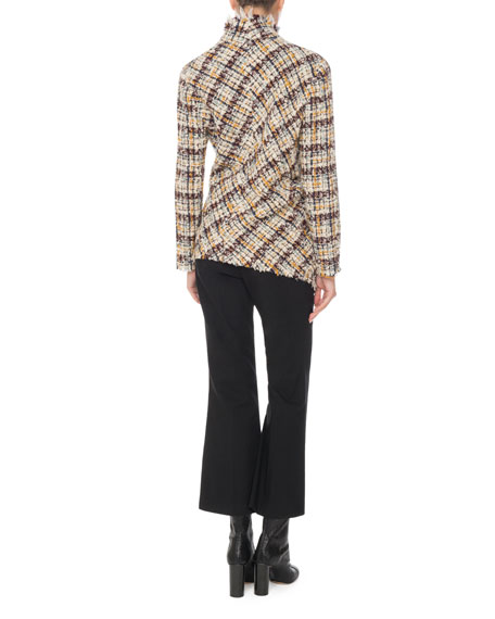 Asymmetric One-Button Multi-Tweed Jacket