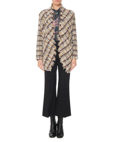 Asymmetric One-Button Multi-Tweed Jacket and Matching Items