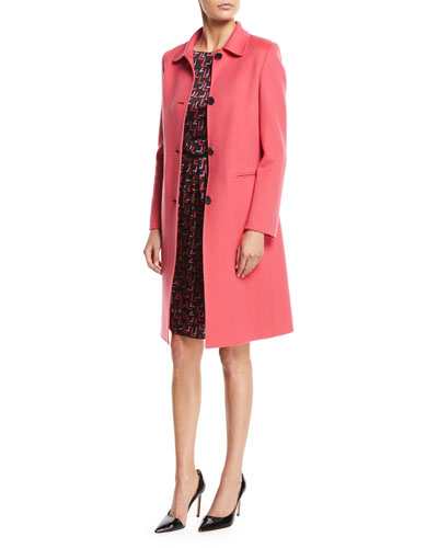 Button-Front Classic Cashmere Coat w/ Martingale Strap and Matching Items