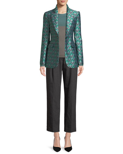 One-Button Geometric Jacquard Classic Jacket  and Matching Items