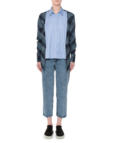 Plaid & Striped Mixed-Print Button-Down Oxford Shirt and Matching Items