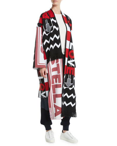 Logo-Knit Belted Long Cardigan Coat w/ Fringe and Matching Items