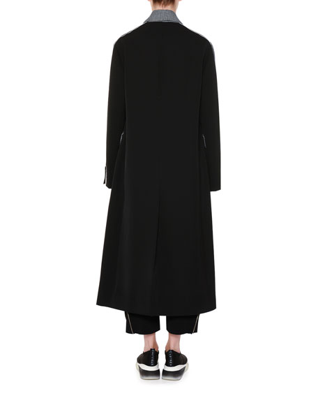 Racer-Side Check-Front Oversized Coat