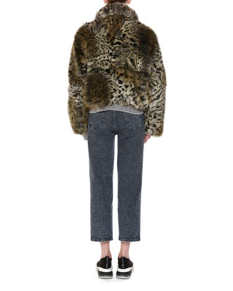 Animal-Print Faux-Fur Short Coat