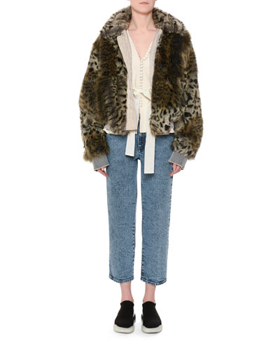 Animal-Print Faux-Fur Short Coat and Matching Items