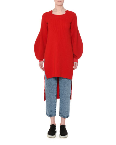 High-Low Balloon-Sleeve Ribbed Wool Tunic and Matching Items