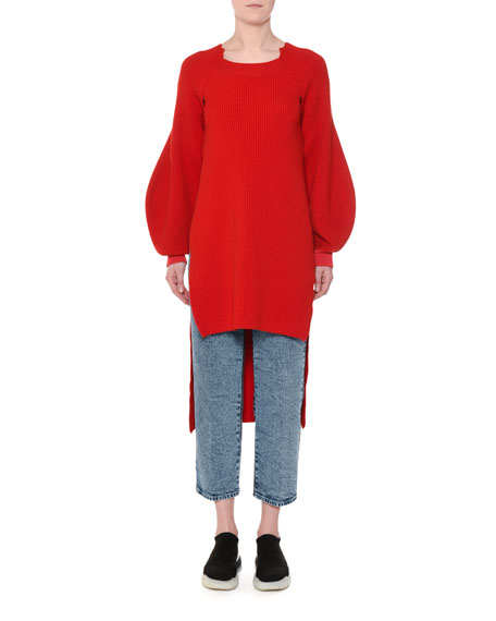 High-Low Balloon-Sleeve Ribbed Wool Tunic Sweater