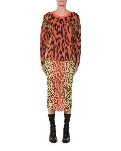 Animal-Print Oversized Neon Mohair Pullover Sweater and Matching Items