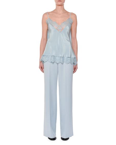 V-Neck Tie-Back Silk Satin Camisole w/ Lace Trim