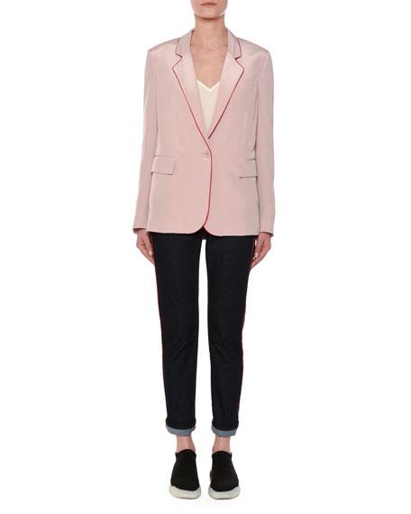 One-Button Silk Blazer w/ Contrast Piping