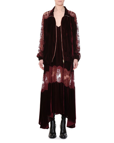 Zip-Front Velvet Bomber Jacket with Lace Inset and Matching Items