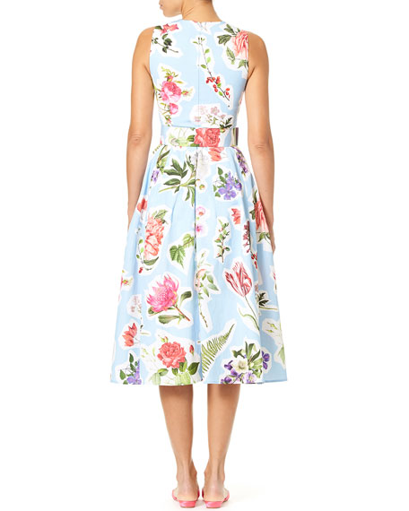 Sleeveless Floral-Print Cotton Faille Fit-and-Flare Midi Dress
